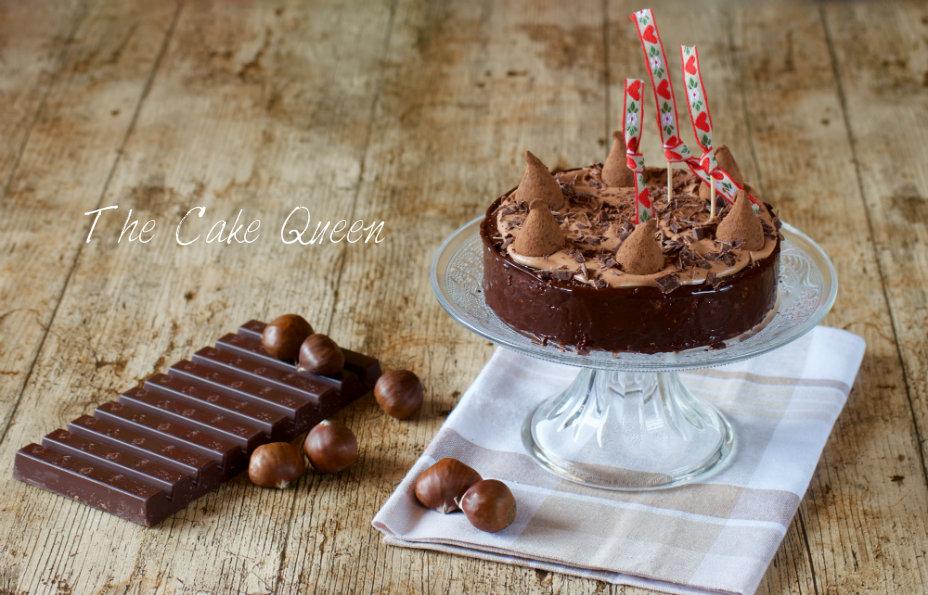 Tarta de castañas y chocolate de leche, muy suave y con un sabor muy delicado de castañas