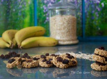 galletas de avena, plátano y pasas