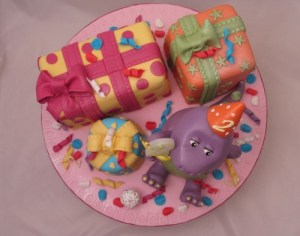 Barney cake with gift box cakes