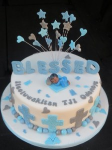 Afro baby topper christening cake