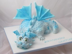 Baby Blue Dragon Cake 3D