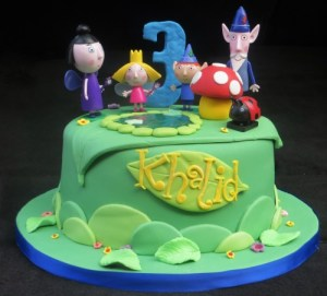 Ben and Holly 3rd Birthday cake with keepsake figures