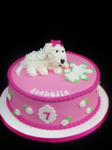 Bichon dog Birthday cake-in pink