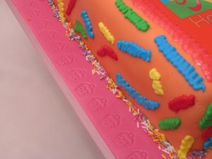 Confetti and cupcakes cake detail