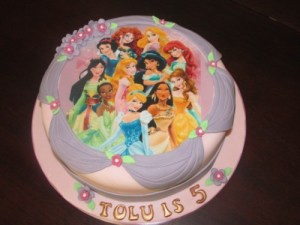 Disney Princesses and sashes cake