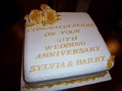 Golden 50th Wedding Anniversary Cake