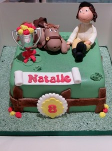 Horse and Rider Cake toppers on Paddock cake