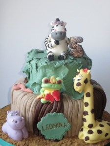 Jungle Themed 2 Tier Birthday Cake