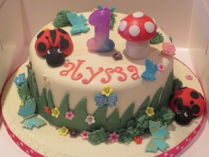 Ladybird and Toadstool 1st birthday cake