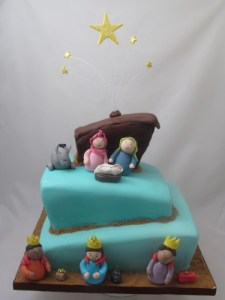 Nativity topsy turvy cake