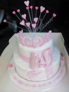 Heart spray topper Christening Cake
