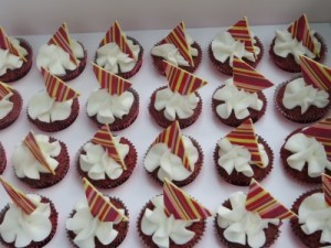 Red Velvet mini cupcakes with white chocolate toppers