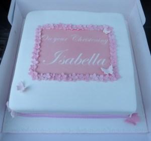 Script Name Topper Christening Cake
