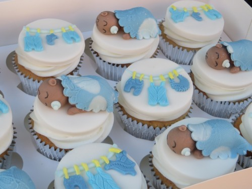 sleeping baby shower cupcakes in blue
