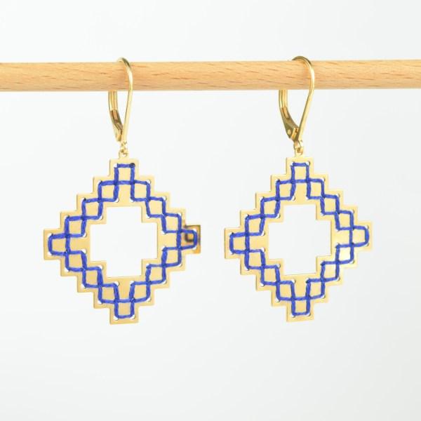 The Camelia bijoux - Boucles d'oreilles Nejjarine bleu majorelle