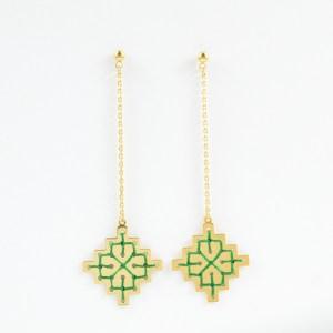 Boucles d'oreilles pendantes Badi vert sapin