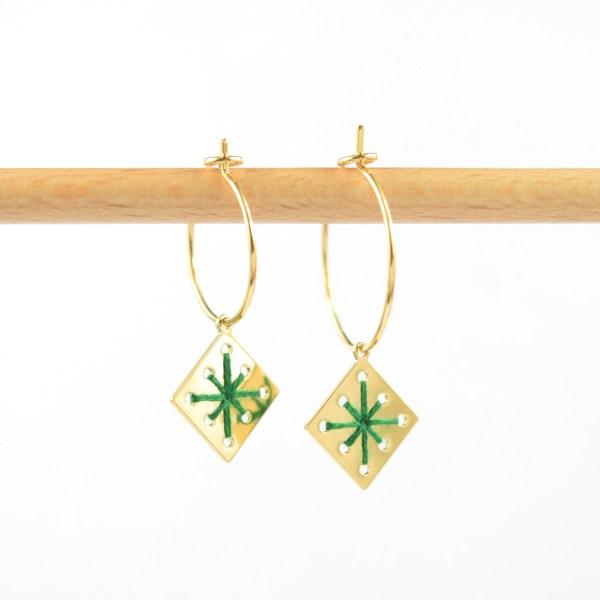 Créoles Menara vert sapin