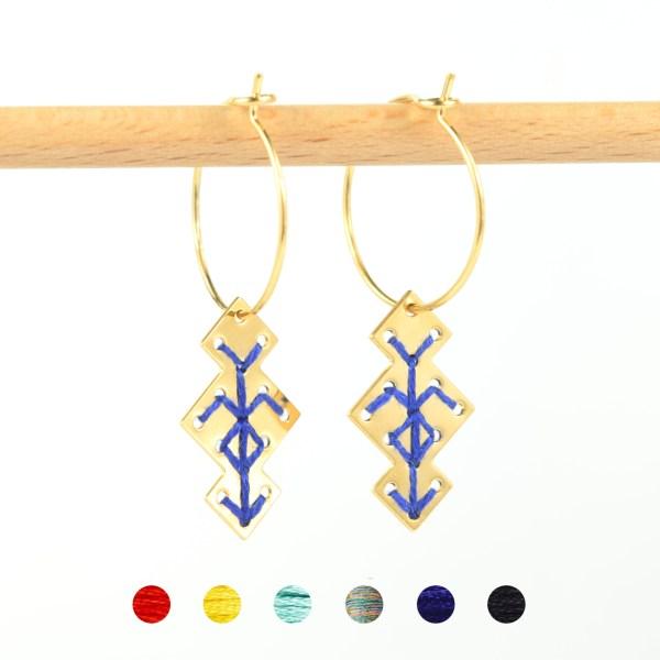 Créoles Souika bleu 6 couleurs