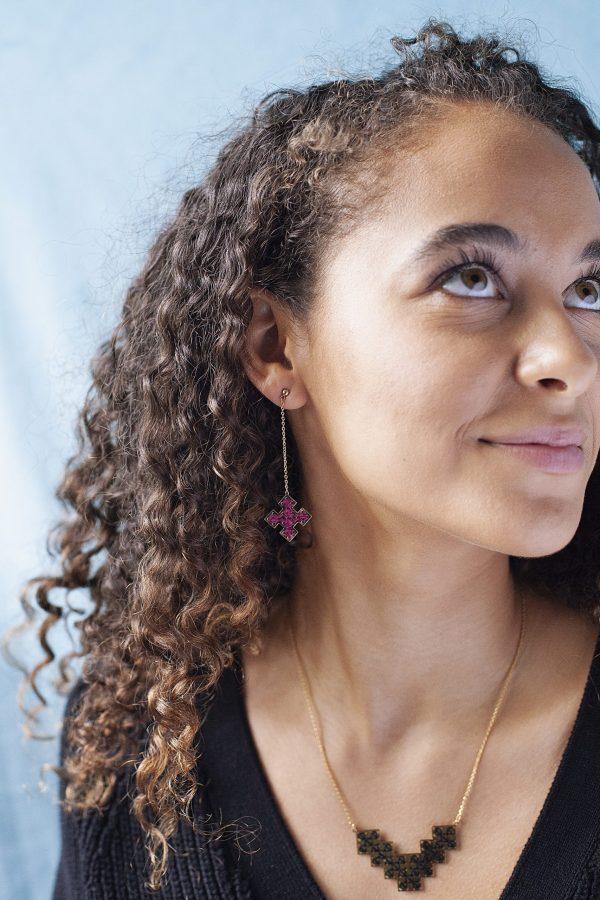 Boucles d'oreilles longues Skala + collier Bou Inania