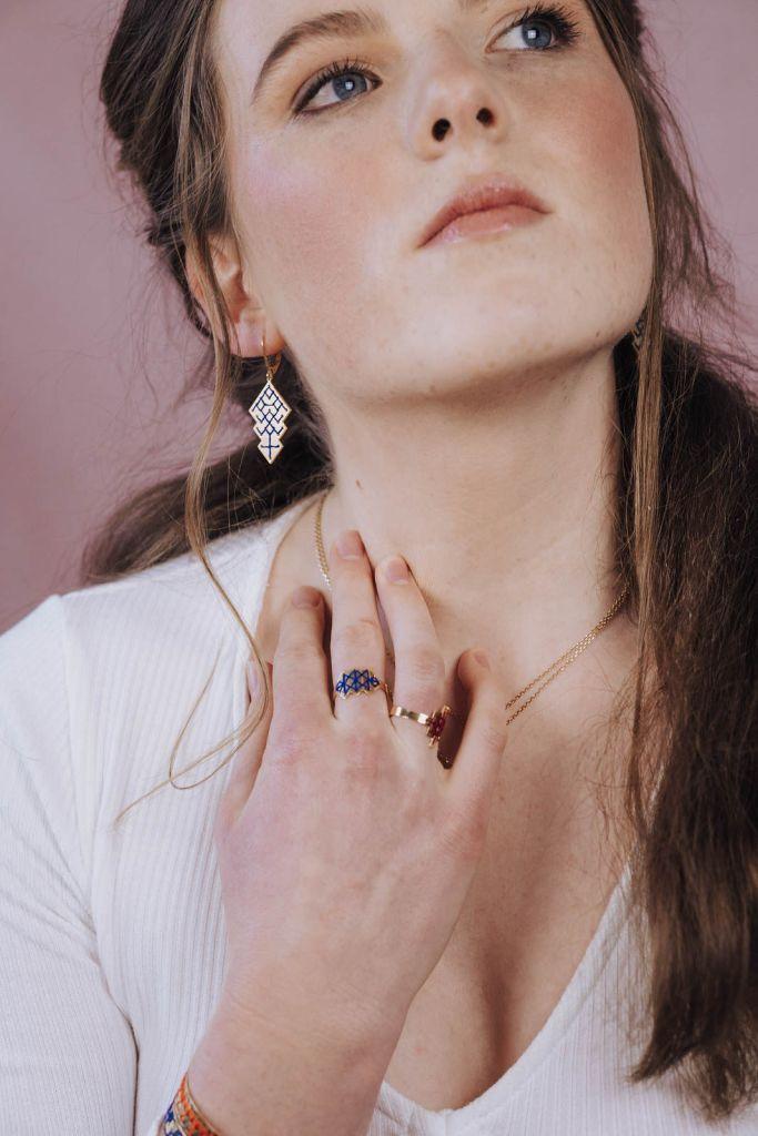 Boucles d'oreilles Ouzoud bleu majorelle