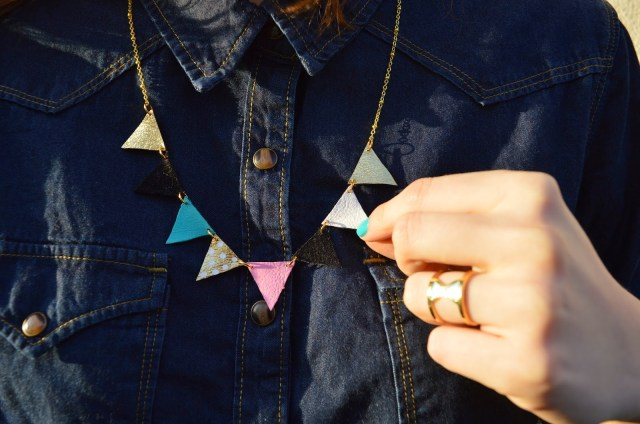 DIY Collier fanions en cuir - The Camelia