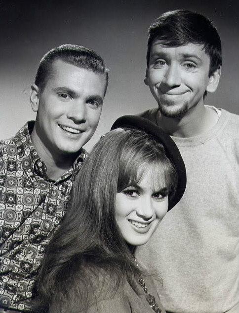 """Dobie Gillis (Dwayne Hickman, left), Maynard G. Krebs (Bob Denver, right) and one of Dobie's """"many loves"""", Yvette LeBlanc (Danielle De Metz), in a still from the Dobie Gillis episode """"Parlez-Vous English"""", originally aired December 27, 1960."""