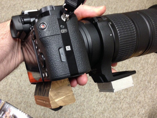 Mike's Bronze Weight. A prototype for testing a 24-ounce deadweight attached to camera via the tripod screw thread.