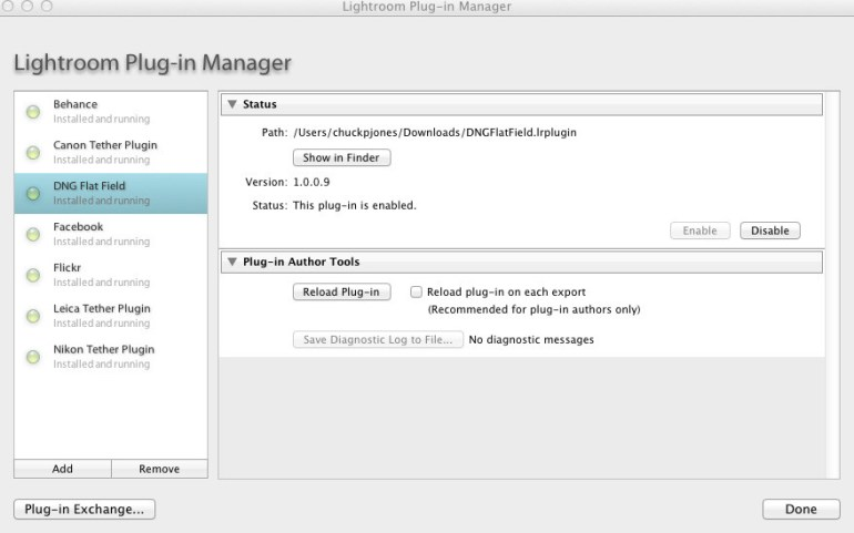 Figure 1 - Adobe Lightroom Plug-In Manager Installer Screen