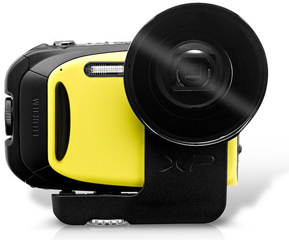 Fujifilm Finepix XP-70 in Yellow, with optional Action Camera Lens, which turns the camera lens into a fixed 18mm (equivalent)
