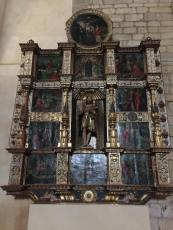 The Retablo illustrates St James meeting Jesus, his martyrdom and then being removed to Galicia.
