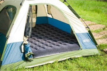 Sleeping platform in tent