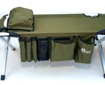 The camping cot with pillow