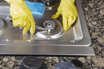clean clogged gas stove burners 06