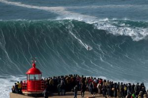 Extreme surfers catch record waves in Portuguese town