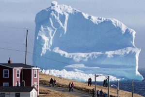 150-foot iceberg passes through Iceberg Alley near Ferryland, Newfoundland