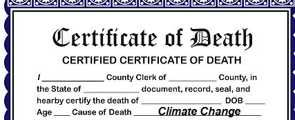 """""""CLIMATE CHANGE"""" to be added to Australia Death Certificates"""