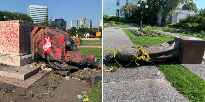 Statues of Queen Victoria and Queen Elizabeth toppled at Manitoba legislature