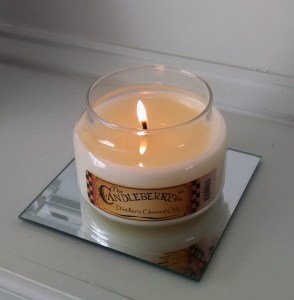 Candleberry Distiller's Charred Oak Candle Burning