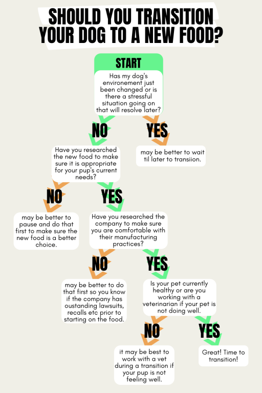 Should you Transition your Dog to a New Food? Here is a great flow-chart to assist you to make that decision.