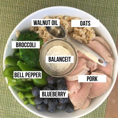 Ingredients for Homemade Dog Food Recipe - Pork, Oats Blueberries, Bell Pepper, Broccoli, Walnut Oil, BalanceIT.