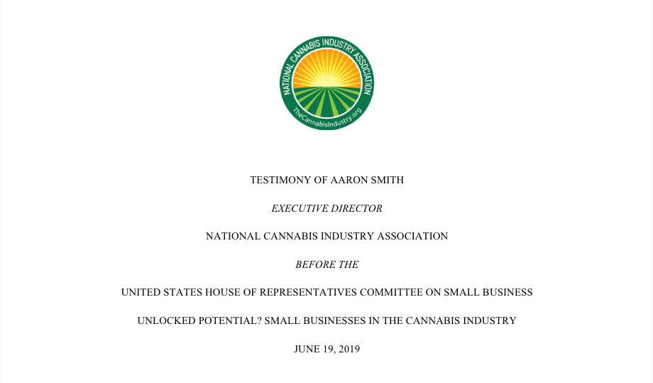 NCIA Testimony Before The U.S. House Of Representatives Committee On Small Businesses In The Cannabis Industry