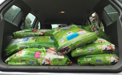 Hundreds of pounds of cat and dog pet food are delivered each month