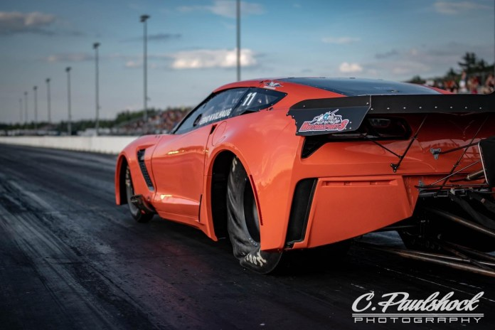 Street Outlaws racer Eric Kvilaug competing at an event