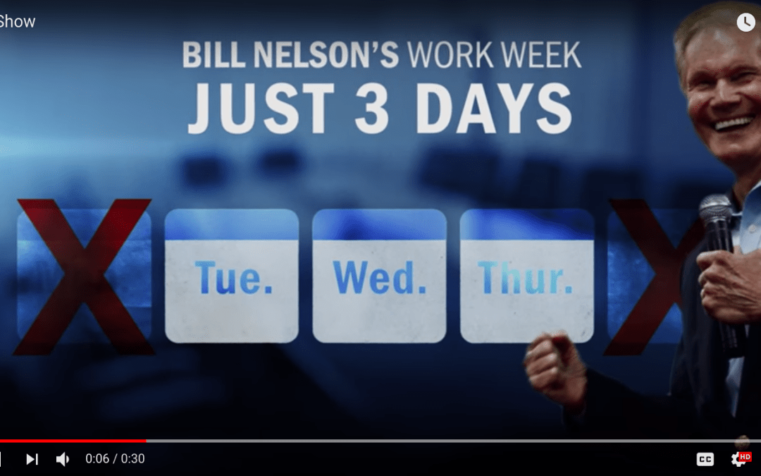 """Scott campaign ad accuses Bill Nelson of never holding a real job and being a """"no show"""" in his current job"""