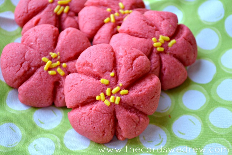 Pretty red and yellow poinsettia Christmas cookies from The Cards We Drew