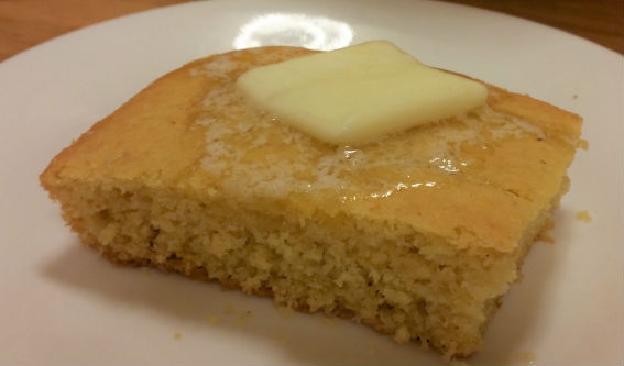 Wheat-free buttered cornbread square