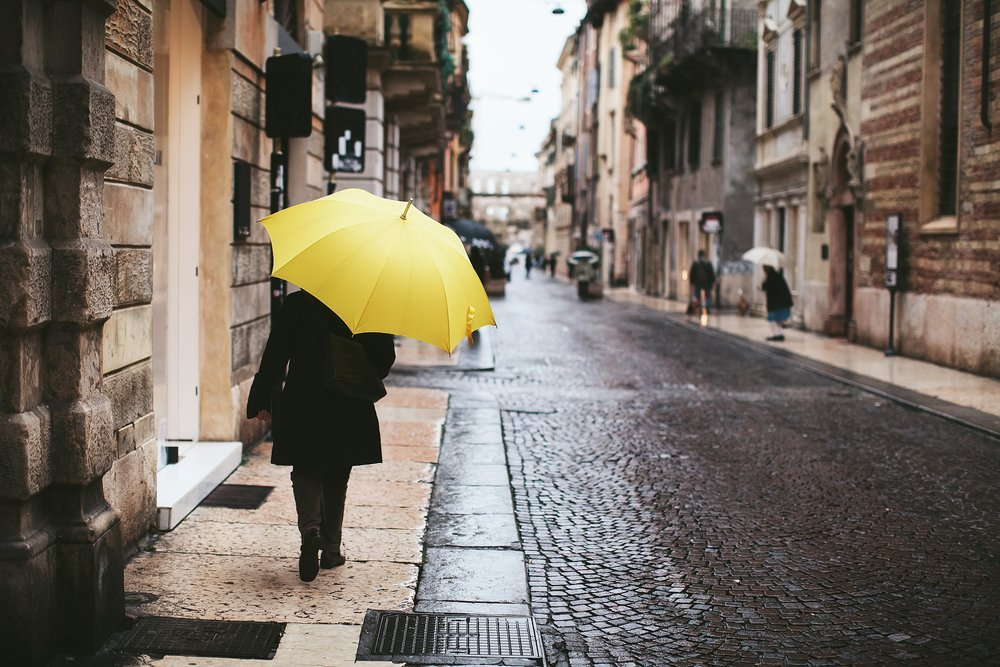 woman with a yellow umbrella