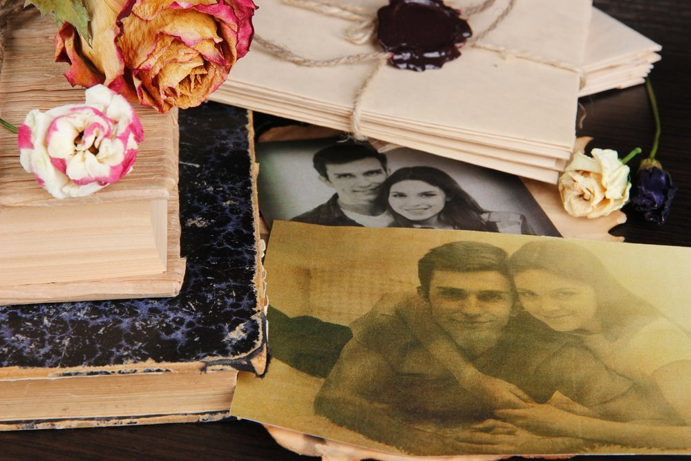 vintage photos, wedding album, and packets of love letters