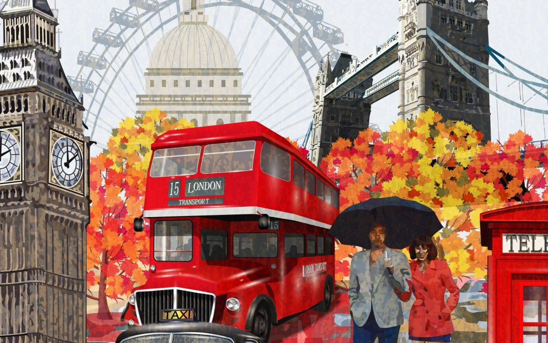 illustration of vintage london showing major landmarks, double decker bus, and a couple walking in the autumn rain together