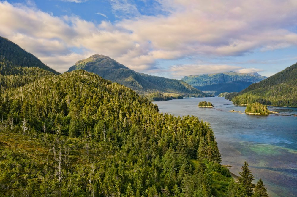Aerial drone photo of Lisianski strait in Southeast Alaska in summer with clouds
